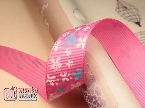 1 Meter Pita Grosgrain Motif Kupu-Kupu Hot Pink 1 Inch (PITA-08)