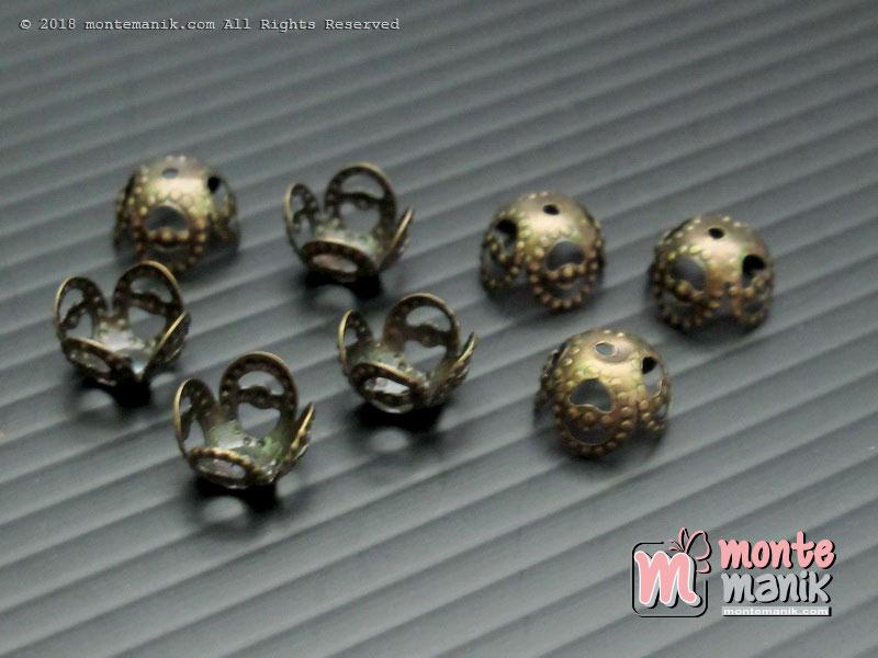 Cangkang Bunga Mangkok Ukir 8mm Hijau Bakar (CKB-01)