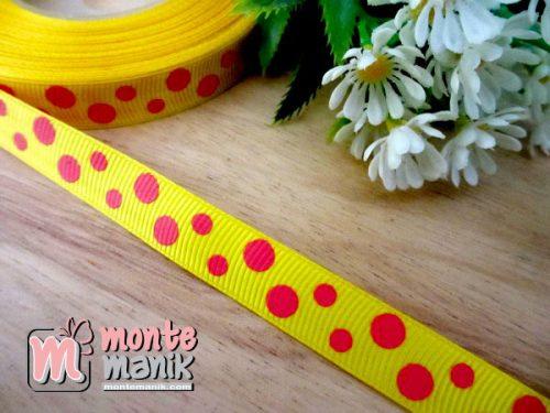 pita-grosgrain-motif-polka-kuning