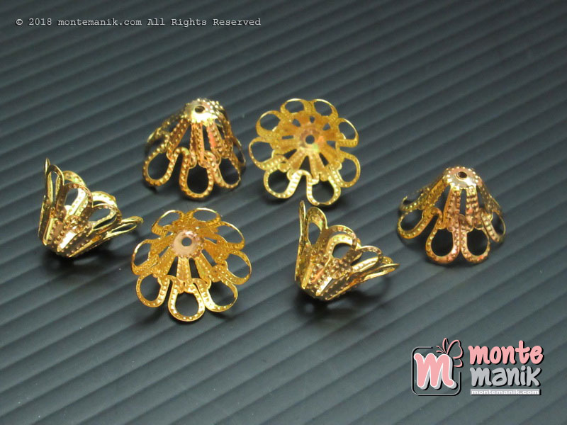 Cangkang Bunga Bakul 12 mm Gold (CKB-012)