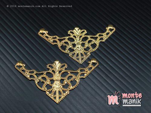 10 Pcs Ornamen Lempengan Sudut Gold 5 cm (OLT-07)
