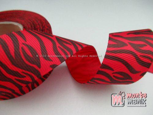 Pita Grosgrain Motif Zebra Merah 1 inch atau 2,5 cm (PITA-130)