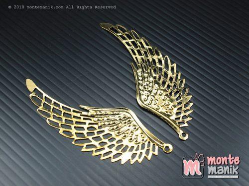 10 Pcs Ornamen Plat Sayap Gold 2,2 x 7 cm (OLT-013)