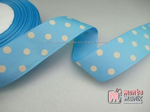 Pita Grosgrain Biru Polkadot Putih 1 inch atau 2,5 cm (PITA-144)
