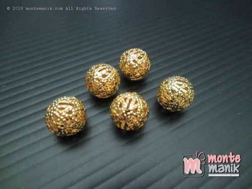 Pembatas Bola Batik 10 mm Emas (SPACER-028)