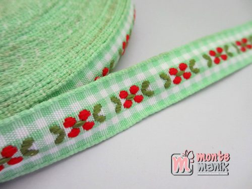 Pita Jacquard Kotak Hijau motif Bunga Molly 1,4cm (PITA-158)