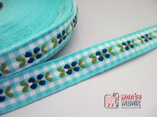 Pita Jacquard Kotak Sky Blue motif Bunga Molly 1,4cm (PITA-159)