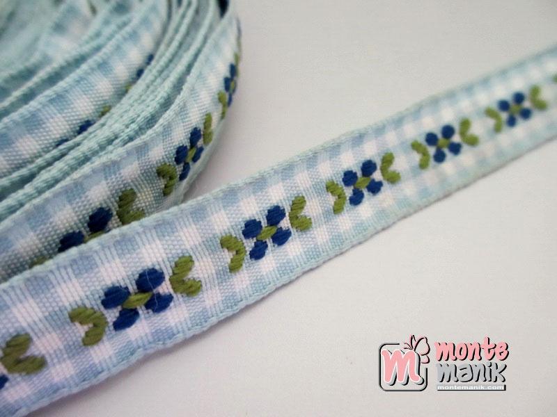 Pita Jacquard Kotak Teal Blue motif Bunga Molly 1,4 cm (PITA-157)