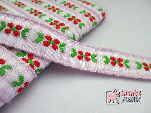 Pita Jacquard Kotak Ungu motif Bunga Molly Merah 1,4cm (PITA-163)