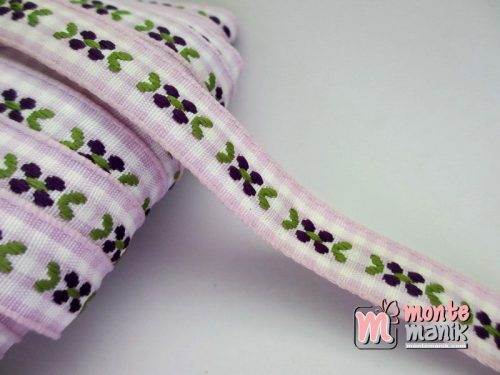 Pita Jacquard Kotak Ungu motif Bunga Molly Ungu 1,4cm (PITA-164)