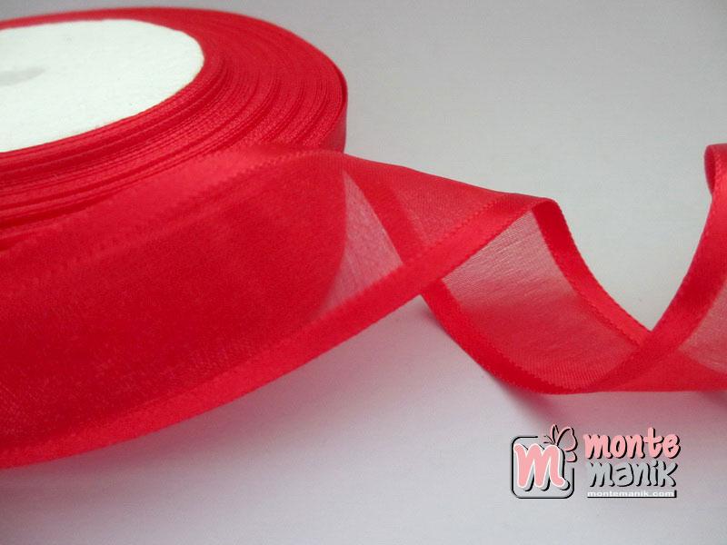 Pita Organdie List Satin Merah 2,5 cm (PITA-165)