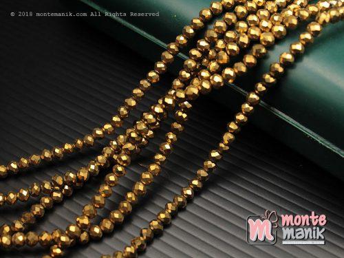 1 String Kristal Ceko Rondelle Emas 4 mm (KRISTAL-024)