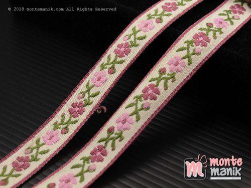 1 Yards Pita Jacquard Motif Sulur Bunga Dusty Pink 1,4cm (PITA-176)