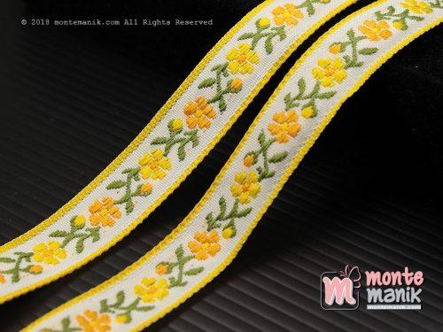 1 Yards Pita Jacquard Motif Sulur Bunga Kuning 1,4cm (PITA-173)