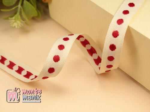 1 Yards Pita Twill Variasi Onde Merah 1 cm (PITA-192)