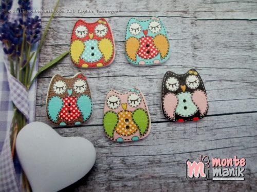 Kancing Kayu Cute Owl (KKN-069)