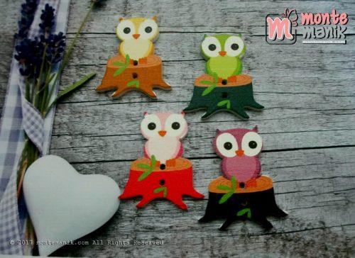 Kancing Kayu Owl di Batang Pohon (KKN-063)