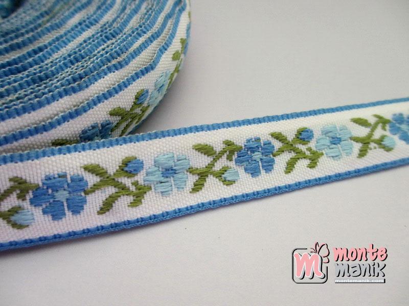 Pita Jacquard Motif Sulur Bunga Biru Muda 1,4cm (PITA-175)