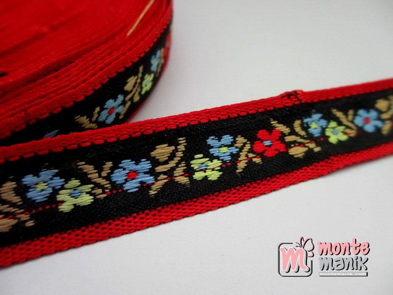Pita Jacquard Motif Sulur Bunga Merah 1,4cm (PITA-174)