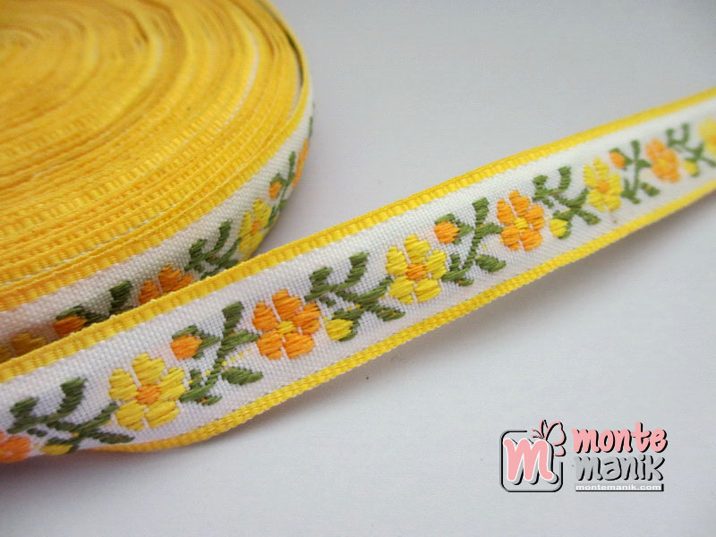 Pita Jaquard Motif Sulur Bunga Kuning 1,4cm (PITA-173)