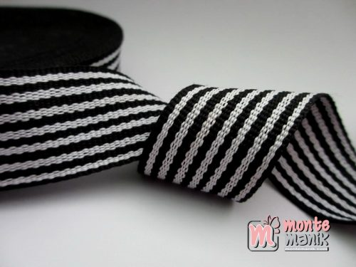 Pita Korea Striped Hitam Putih 2,5cm (PITA-177)