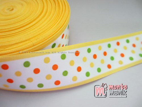 Pita Satin Polkadot Kuning 2,5 cm (PITA-187)