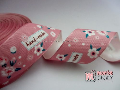 Pita Satin Vintage Dusty Pink Motif Bunga 2,5cm (PITA-188)