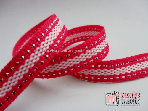 Pita Woven Variasi Stripes Hot Pink 1 cm (PITA-189)