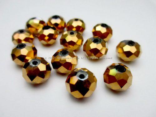 Manik Kristal Ceko Donat Gold 10 mm (KRISTAL-026)