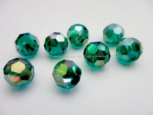 Manik Kristal Ceko Hexagon Bundar Hijau 8 mm (KRISTAL-029)
