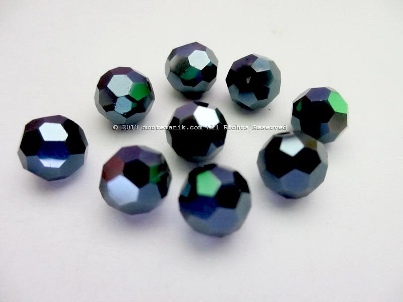 Manik Kristal Ceko Hexagon Bundar Hitam 8 mm (KRISTAL-028)