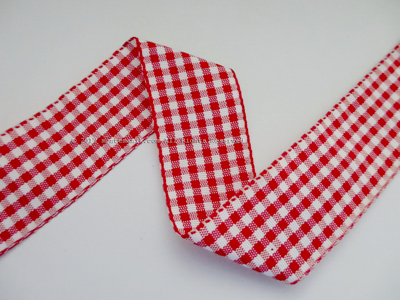 Pita Gingham Merah dan Putih 1″ atau 2,5cm (PITA-198)