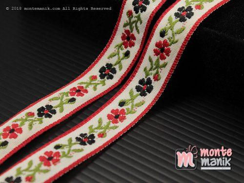 1 Yards Pita Jacquard Motif Sulur Bunga Merah 1,4 cm (PITA-200)