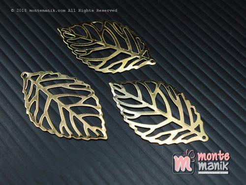 10 Pcs Ornamen Plat Daun Emas 2 x 3,5 cm (OLT-026)