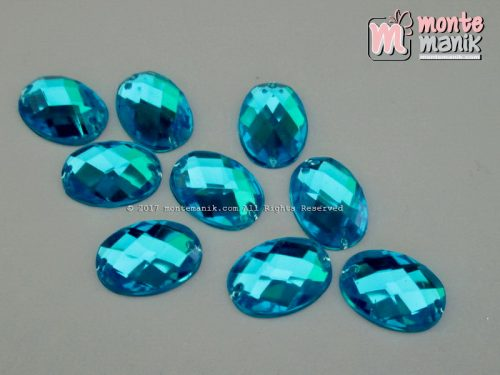 Diamond Rhinestone Blink Oval Biru (DMD-035)