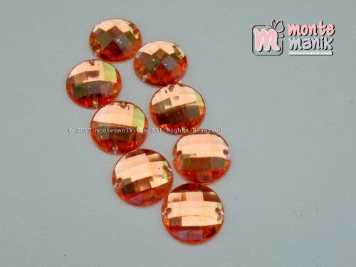 Diamond Rhinestone Bundar Orange 12 mm (DMD-047)