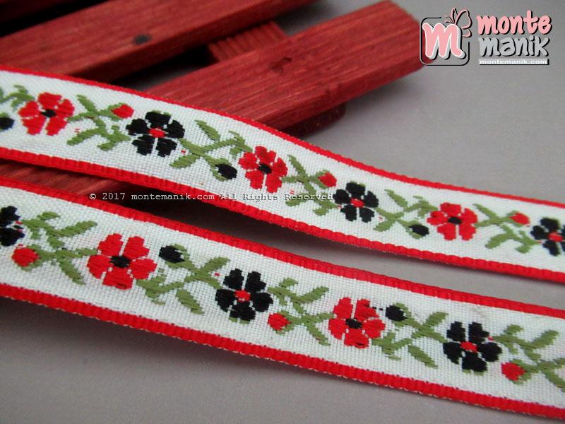 Pita Jacquard Motif Sulur Bunga Merah 1,4 cm (PITA-200)