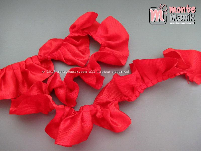 Renda Kerut Satin 2,5 cm Merah (RKS-05)