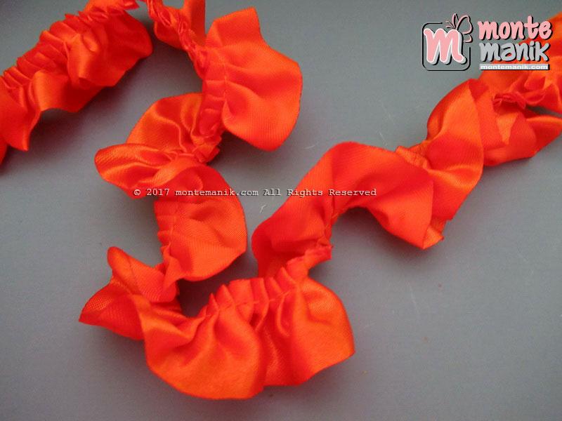 Renda Kerut Satin 2,5 cm Orange (RKS-09)