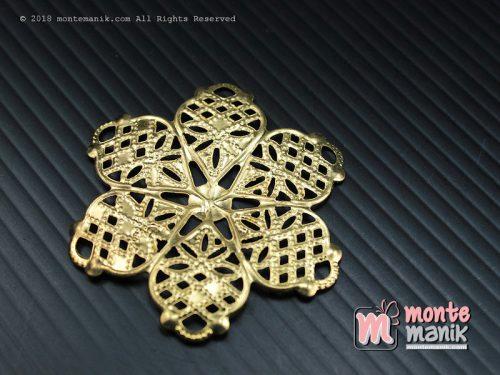 3 Pcs Ornamen Lempengan Bunga Kamboja Emas 4,5 cm (OLT-032)