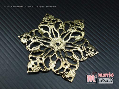 3 Pcs Ornamen Lempengan Bunga Lancip Emas 6 cm (OLT-031)