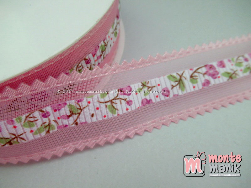 Pita Organdi Hias Pita kain Motif Pink (PITA-206)