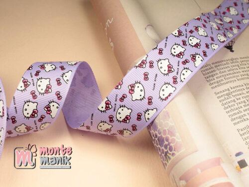 1 Meter Pita Grosgrain Motif Hello Kitty 2,5 cm Ungu (PITA-218)