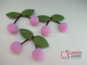 Aplikasi Cherry Pom-Pom Lilac Purple 1,5 cm (ALL-016)