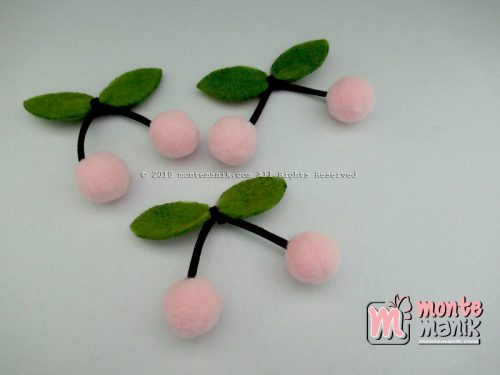 Aplikasi Cherry Pom-Pom Peach 1,5 cm (ALL-017)