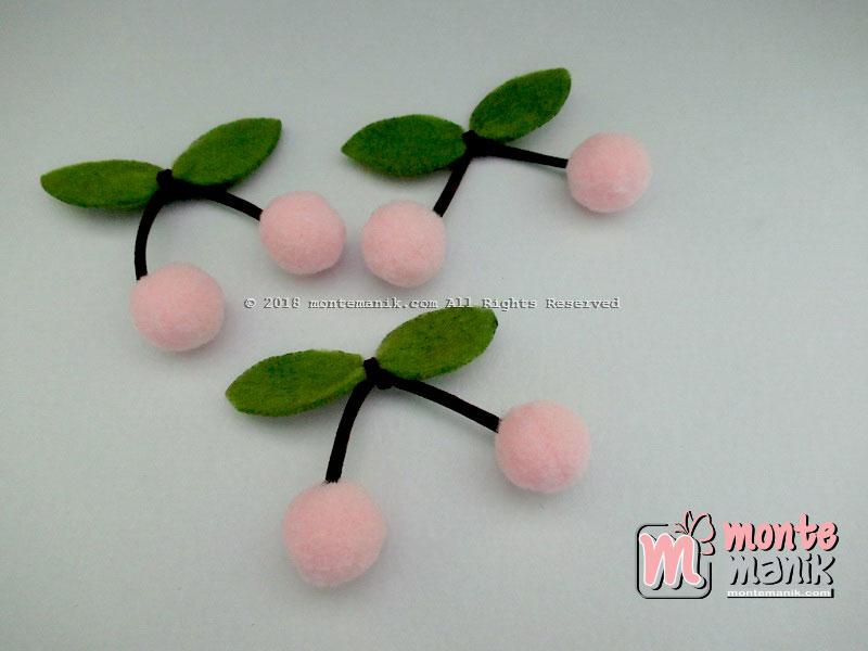 Aplikasi Cherry Pom-Pom Peach 1,5 cm (ALL-017)