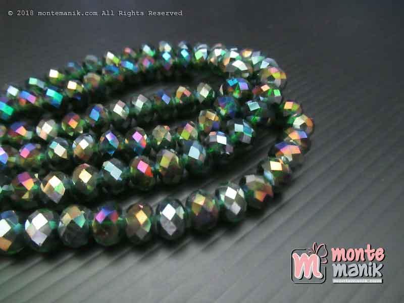 Manik Kristal Ceko Donat Bening Hijau Botol 8 mm (KRISTAL-039)
