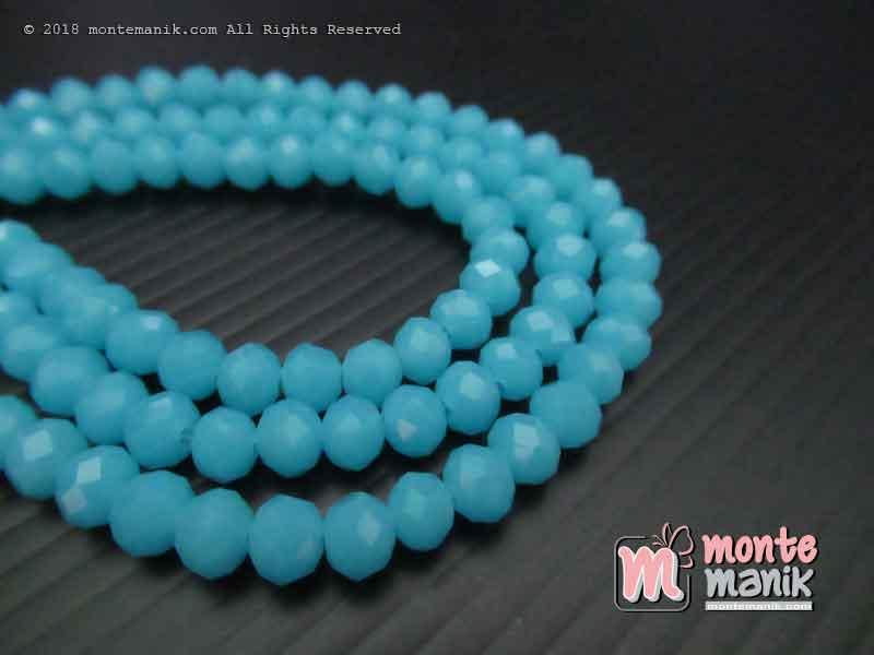 Manik Kristal Ceko Donat Doff Biru langit 6 mm (KRISTAL-035)