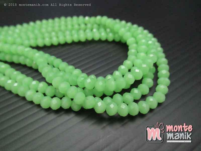 Manik Kristal Ceko Donat Doff Fresh Green 4 mm (KRISTAL-043)