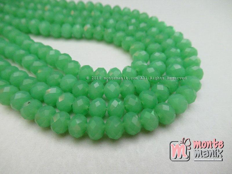 Manik Kristal Ceko Donat Doff Green 6 mm (KRISTAL-044)